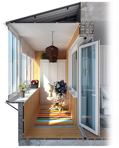 Работы по отделке балконов и лоджий под ключ